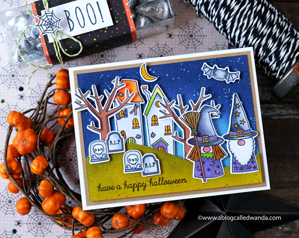 Reverse Confetti Halloween Gnomes stamp set. Distress Ink BLending, Copics, Halloween card by Wanda Guess