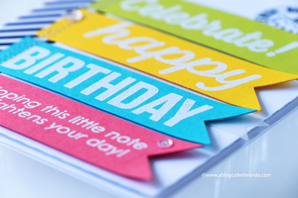 Scrapbook.com exclusive stamp sets. Birthday card with embossing and banners. Wanda Guess