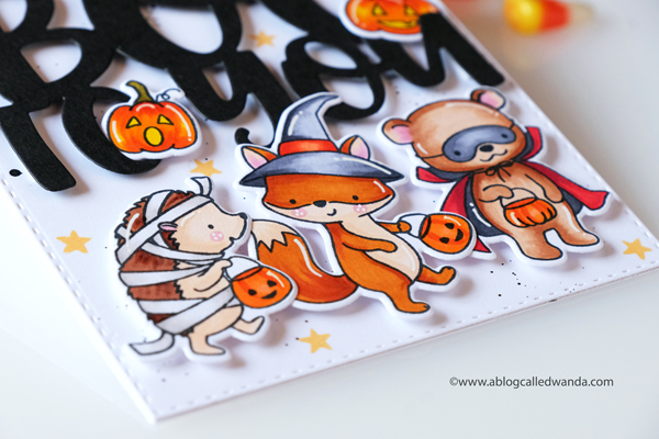 Hello Bluebird stamps. Little Haunters and Boo to you! Halloween Card ideas. Copics. Wanda Guess