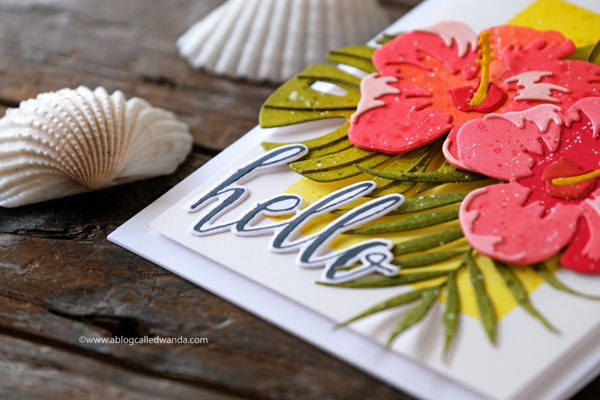 Hibiscus Halftone Hello stamps and dies