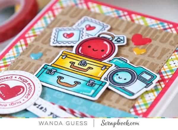 Doodlebug I love Travel collection. Scrapbook.com stamps. Card ideas. Copics. A Blog Called Wanda