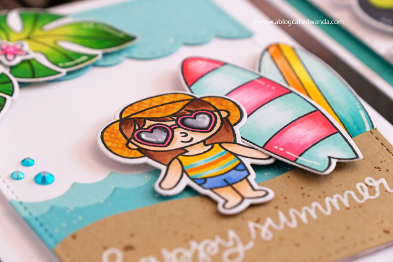 Pretty Pink Posh Summer Friends, Surfboards. Copic Colors. June release blog hop Wanda Guess