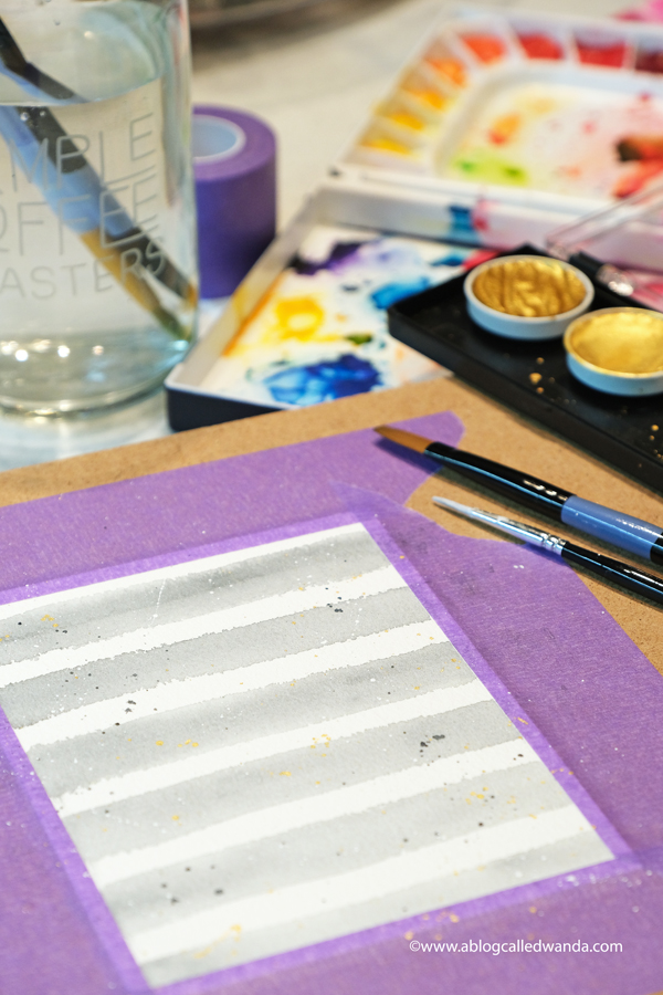 Finetec Gold and Mijello Mission watercolor stripes