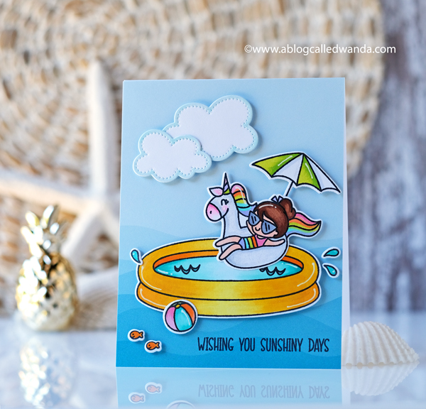 Avery Elle Pool Party stamp set. Summer scene colored with Copics.