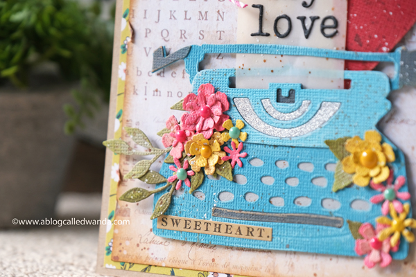 Tim Holtz Retro Type Die and Tiny Type Alphabet. Distress Inks. Mixed media. Tattered florals. Distress inks. Handmade card with Tim Holtz supplies. Wanda Guess