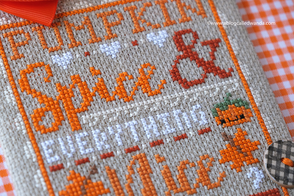 pumpkin spice cross stitch project by Wanda Guess