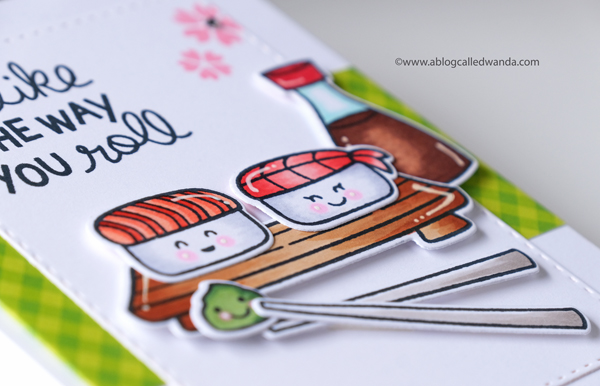 Lawn Fawn Sushi Card. Copics. Clean and simple card design layout. Wanda Guess