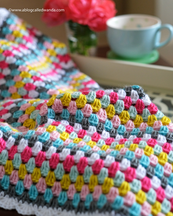 Granny square blanket. Caron Simply Soft Yarn. Scallop Border stitch crochet project by Wanda Guess