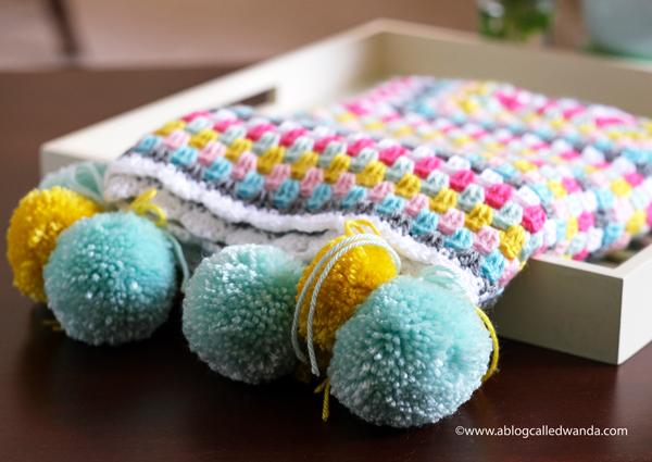 Granny square blanket. Caron Simply Soft Yarn. Scallop Border stitch crochet project by Wanda Guess