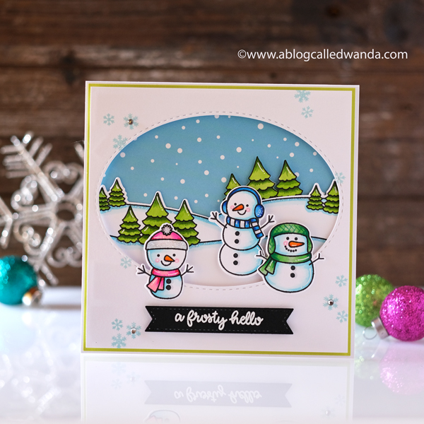 Sunny Studio Stamps Frosty Friends. Snowman Card with copics and snow scene. Wanda Guess guest designer