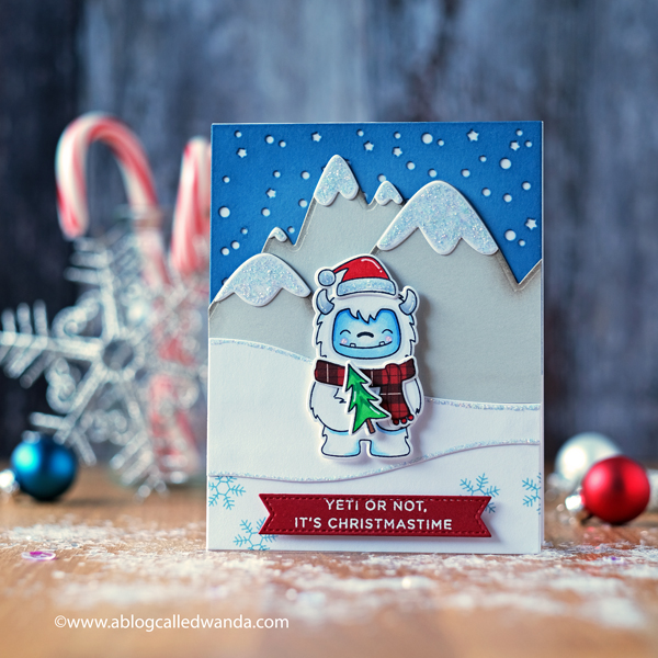 Hello Bluebird stamps and dies. Yeti or Not Christmas Card. Glacier Peaks dies. Handmade card ideas. Wanda Guess