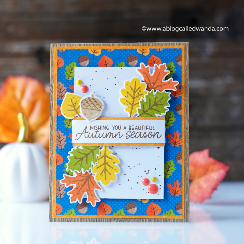Sunny Studio stamps autumn leaves card.
