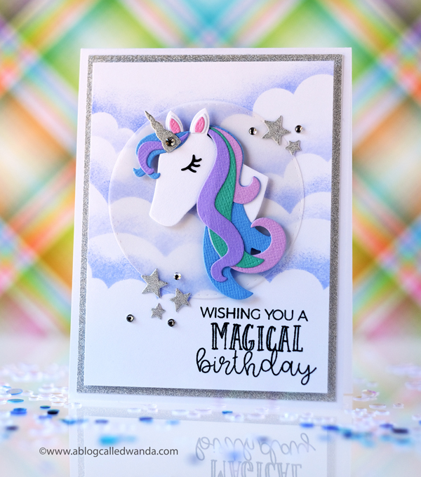 Taylored Expressions Build A Unicorn dies. Taylored Expressions Blender Brushes. Unicorn birthday card. Wanda Guess