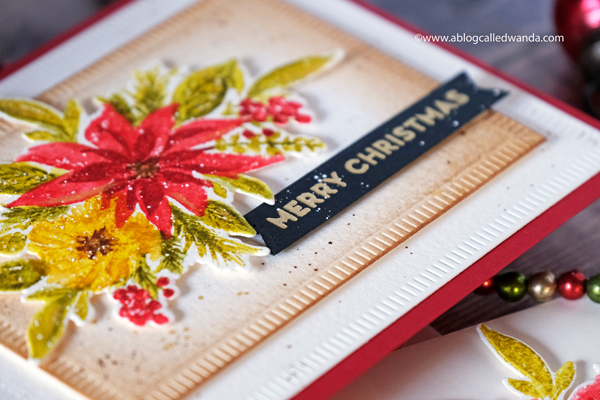 The Greetery With Love at Christmas. Watercolor Poinsettia Christmas card. Wanda Guess. Winter release 2019