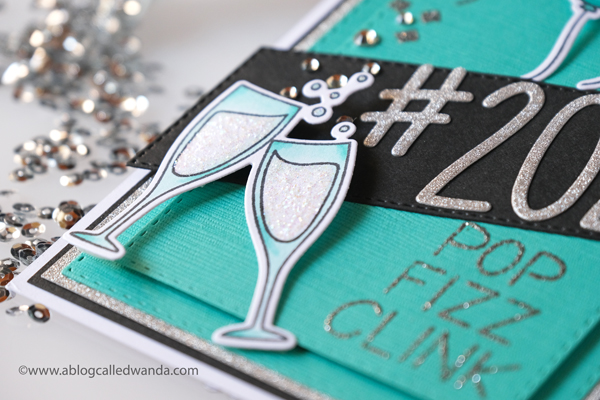 New Year Card idea. Stamps and dies from Pretty Pink Posh and Concord & 9th. Pop Fizz Clink. Embossing, Copics, layers. Season's Givings A Blog Called Wanda. 2020 card.
