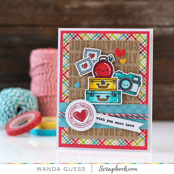 Doodlebug I love Travel collection. Scrapbook.com stamps. Card ideas. Copics. A Blog Called Wanda