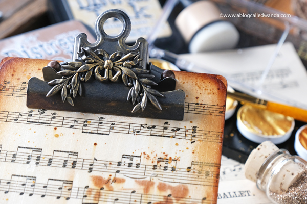 Tim Holtz Mini Clipboard Mixed Media Project. Supplies from Distress Ink, Ideaology, Wallpaper, Stencils. Wanda Guess. Vintage Music Sheets. Craft Ideas.