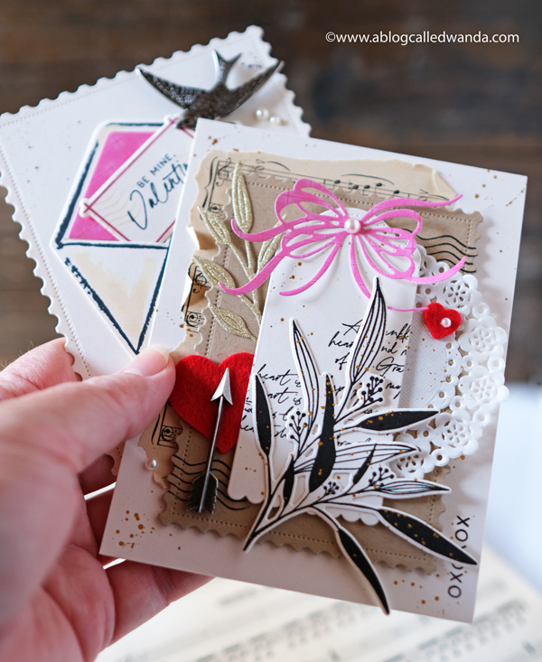 Handmade valentine cards with stamps and die cuts. Doilies, sparrows, envelopes. A Blog Called Wanda