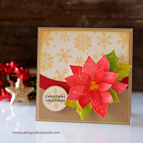 Pretty Pink Posh stamps and dies. Blog Hop. Poinsettia Dies. Snowflake Stencil. Watercolor. Distress Inks. Christmas Card. Wanda Guess
