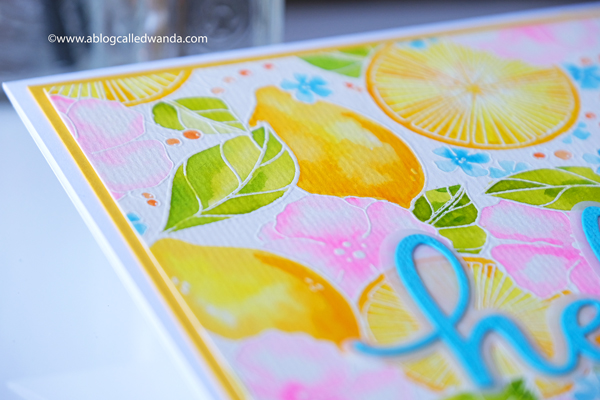Pinkfresh Studio Lemon Lush Background stamp with watercolors