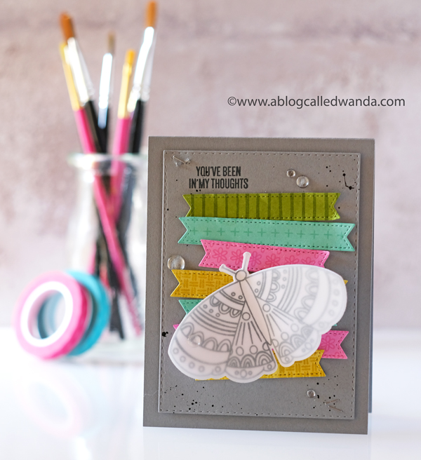 Essentials by Ellen new release. Brandi Kincaid. Be the change stamp set. Butterfly Card. Mixed media. Stamp Market cardstock. Wanda Guess