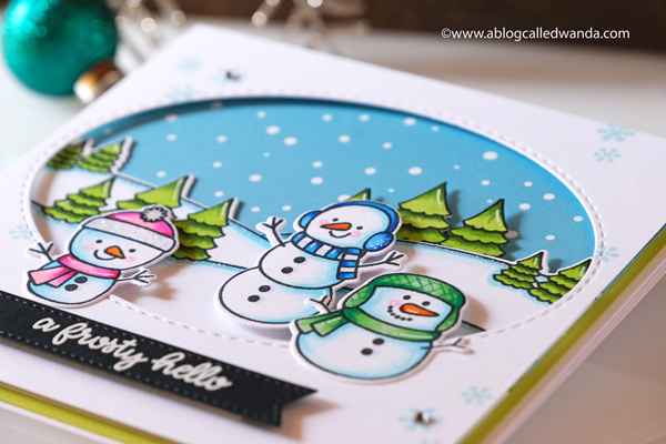 Sunny Studio stamps and dies. Snowman card for winter. Friendship