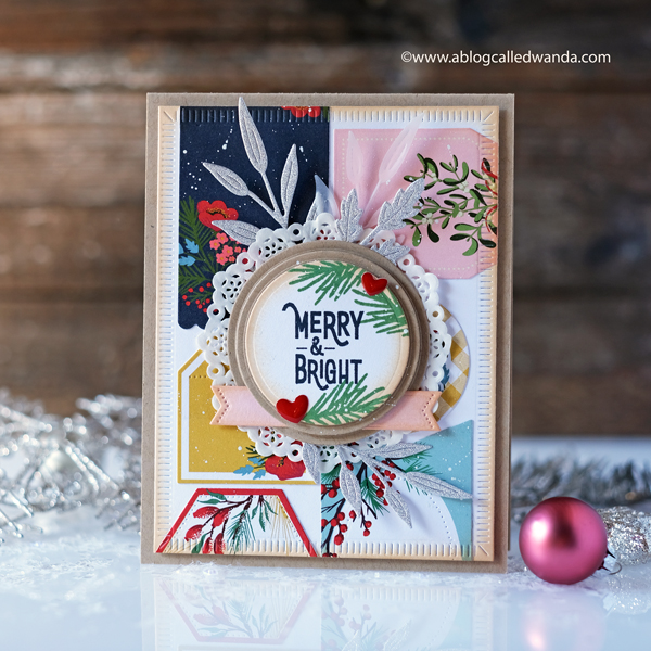 The Greetery Speed Tagging Paper. Inside out berry branch. Christmas card