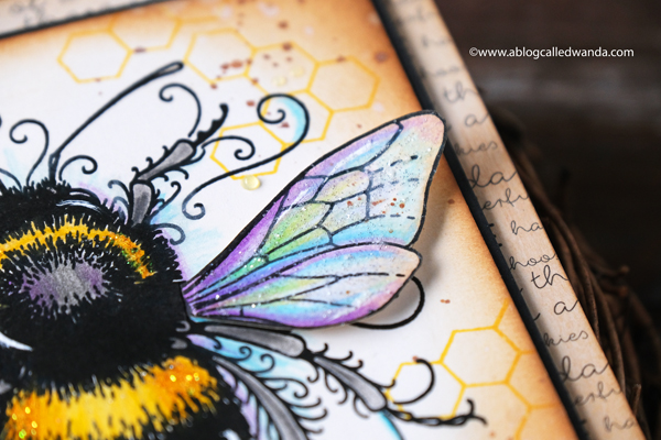 Bee stamp from Pink Ink Designs UK. Colored with Polychromos Pencils. Distress ink blending. Honeycomb. Nuvo clear drops. Bee theme card. Vintage. Wanda Guess