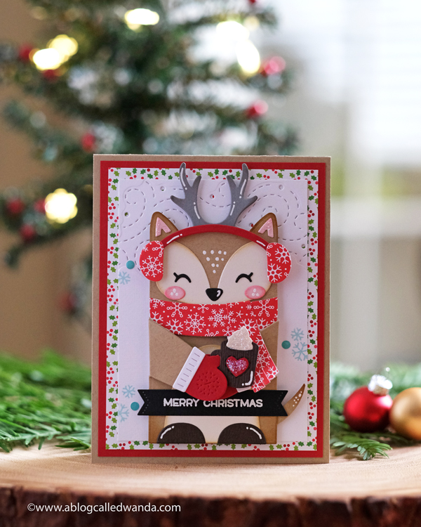Lawn Fawn Woodland Critter Huggers Deer Winter add-ons. Christmas card with Doodlebug papers. Wanda Guess