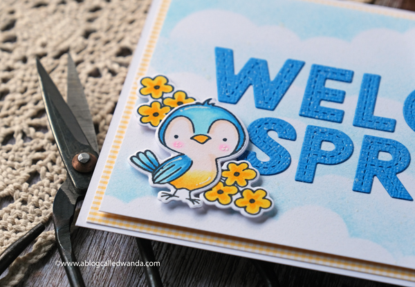 Spring card, Hello bluebird stamps and dies, Garden Friends stamp set, Lawn Fawn Oliver's Alphabet, MFT cloud stencil, copics, wanda guess