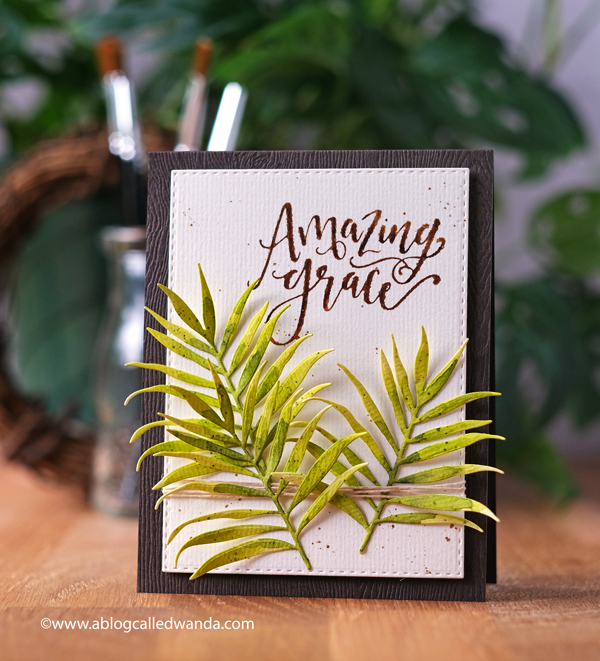 Palm Sunday handmade card. Taylored Expressions Handlettered stamps and Altenew Hibiscus Garden. Watercolors. Mijello. CAS card design ideas. Wanda Guess