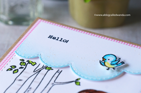 Hello Bluebird new release. Picked for You stamp set, Pathway stamp, copic markers, cheerful card ideas, gingham paper, wanda guess