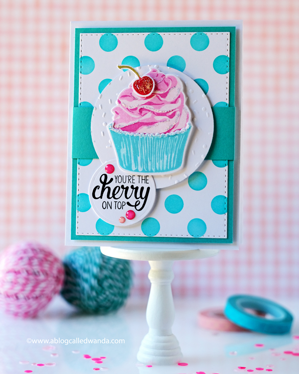 Taylored Expressions Simply Stamped Cupcakes. Birthday Card, Embossing, polka dots, Sprinkles embossing folder. Wanda Guess. Polka Party Stencil and blender brushes