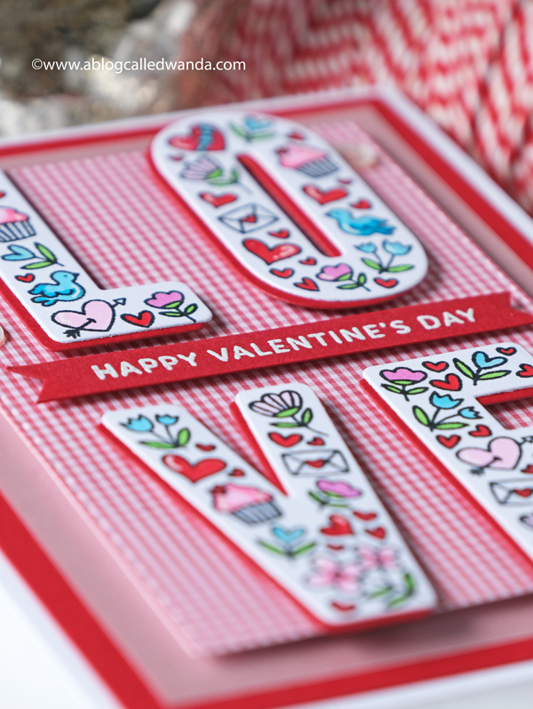 Pretty Pink Posh Valentine. Love stamps set and dies. Gingham Valentine card ideas. Copics. PPP Wanda Guess blog hop