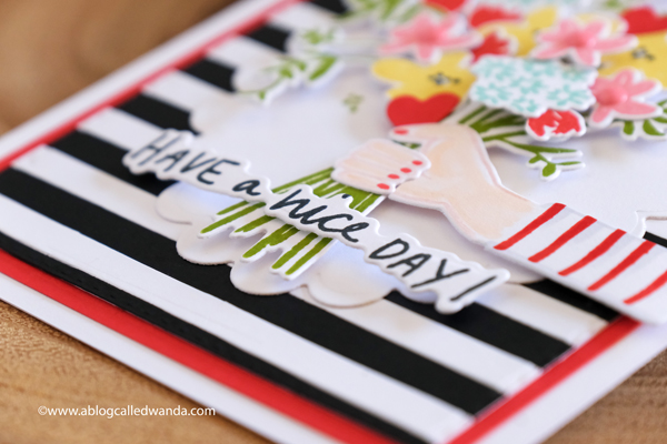 The Stamp Market Oh So Lovely and strips dies. Stamps and dies, handmade card. Floral bouquet. Card ideas by Wanda Guess