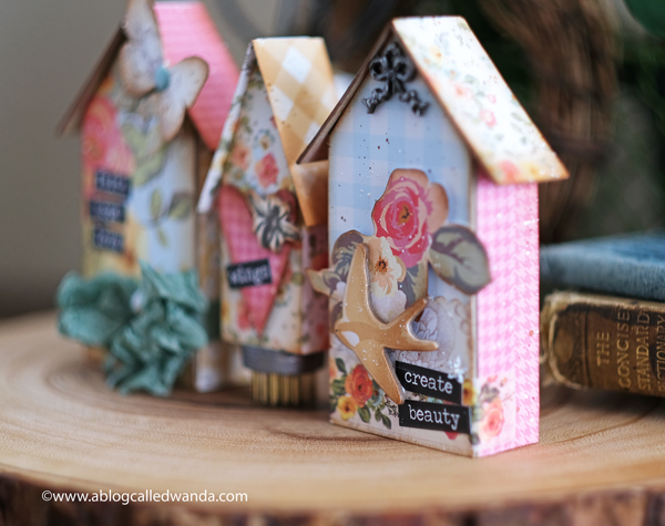 Tim Holtz Sizzix Tiny Houses dies. Bigz Dies. Distress Inks. Vintage Style crafting. Paper Houses. My Mind's Eye Gingham Gardens Collection. Florals. Wanda Guess. A Blog Called Wanda