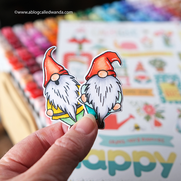 Tulla and Norbert Gnome Collection from Photoplay Paper. Gnome Card. Copics. Patterned paper. Card ideas. Wanda Guess