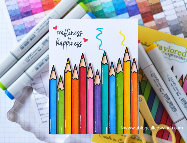 Taylored Expressions Create In Color Background stamp. Craftiness is Happiness stamp set. Copic Coloring. Creative friendship card. Card ideas. Wanda Guess