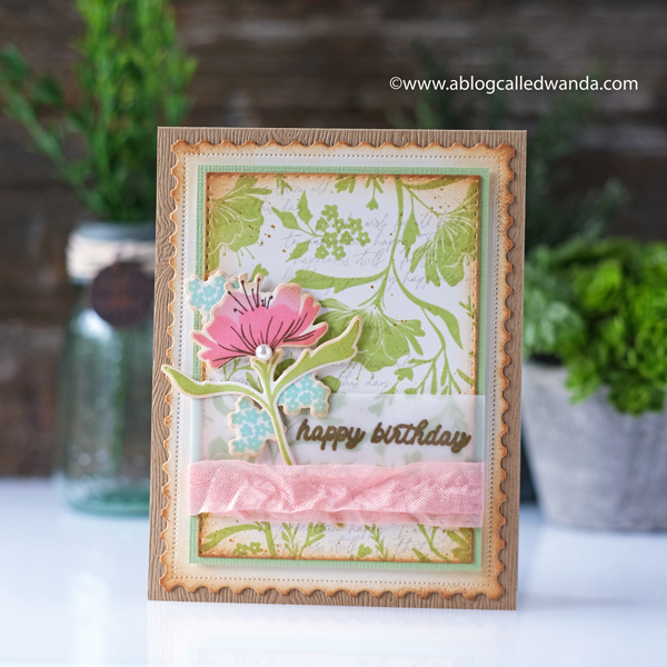 The Greetery New Release Fresh Air Collection. Print Shop Fresh Floral stamps and dies, Fresh Floral Background, Slim Alphabet. Vintage card. Distress Ink. Birthday card. Wanda Guess Greetery Design Team