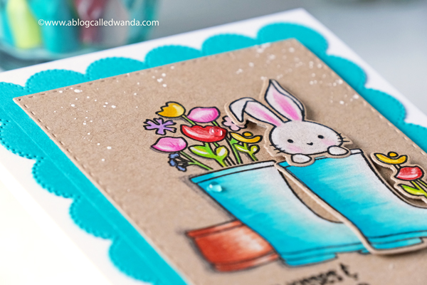 sugar pea designs sprout bloom grow stamp set. Colored Pencils on Kraft. Prismacolor. Handmade card, stamps and dies. Easter card, bunny, flowers. Wanda Guess