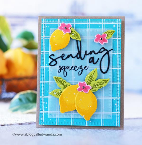 The Greetery Lemon Blossom. Cheerful card. Windowpane background stamp. TGIF on The Greetery Blog Wanda Guess