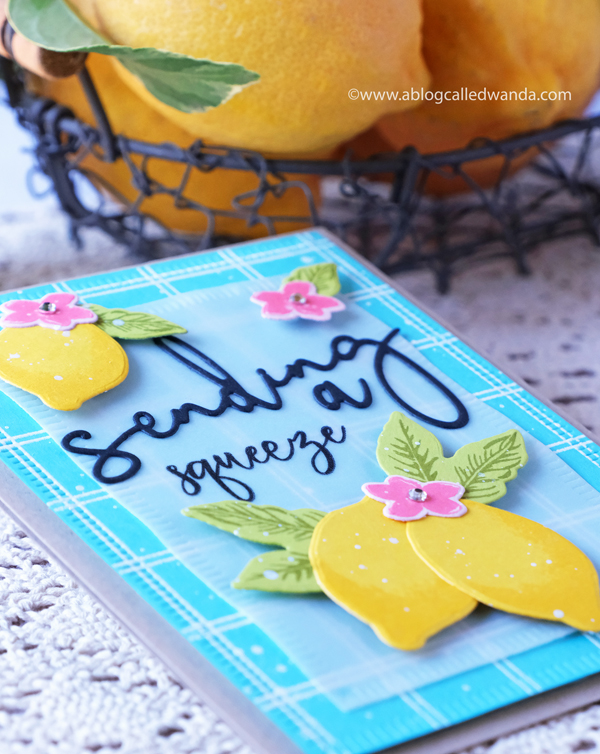 Handmade card with lemons. Sending a squeeze. Stamping and Die Cutting, heat embossing, vellum