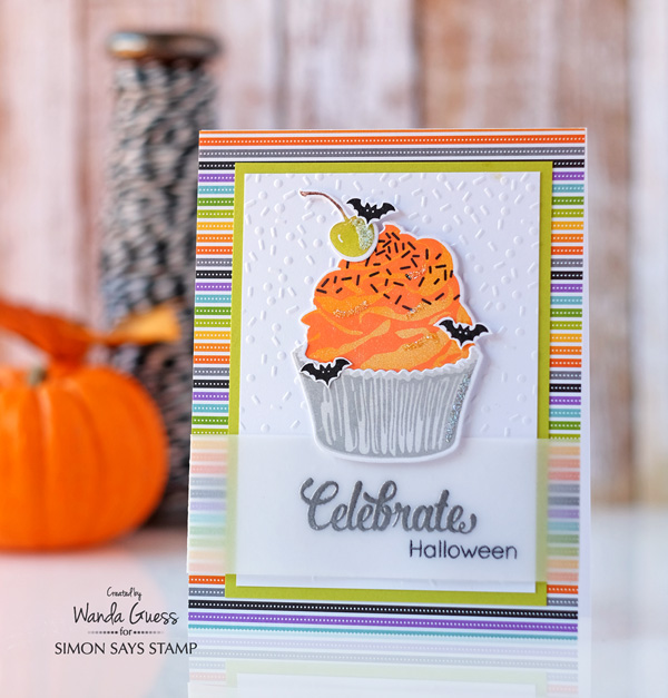 Halloween card. Taylored Expressions Cupcake stamps! Bats and stripes too! Wanda Guess