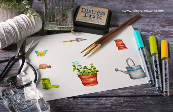 30 day coloring challenge. Altenew Garden Grow stamps and dies. Karin brush markers. No line watercoloring. Garden theme card, stamping and die cutting, gingham, wanda guess