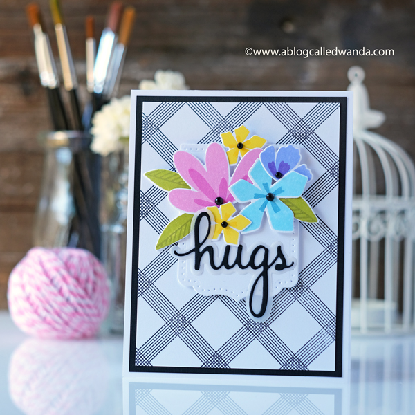 Pinkfresh Studio Spring Blog Hop. Background Dies, Lemon Lush, Simple Blossoms.. Watercolor, Bright and clean card ideas. Wanda Guess. Handmade cards with stamps and dies