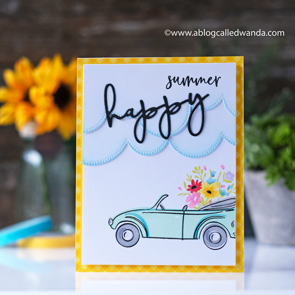 The Greetery New Release! Fresh Air Collection. Top Down Day stamps, Silver Lining Dies, Painterly Stripes background. Wanda Guess