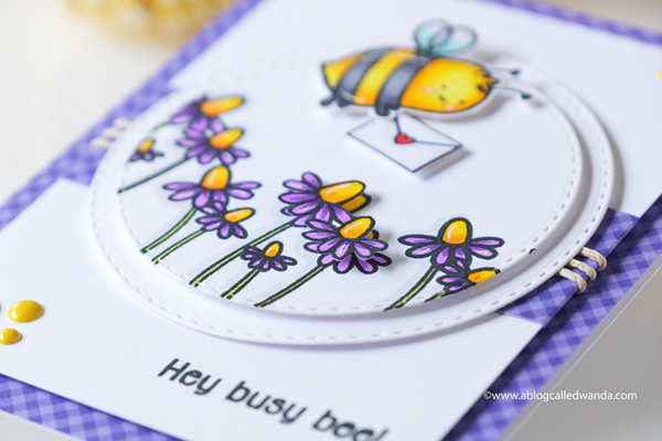Create a Smile stamps Best Bugs stamp set. Copic Coloring. Doodlebug gingham. A blog called wanda. CAS card ideas.