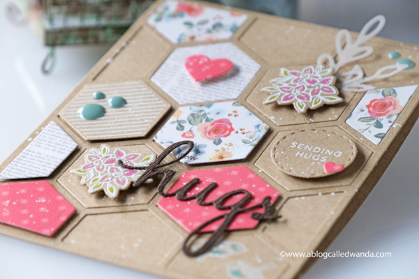 Pinkfresh Studio new release blog hop. Hexagon stamps and dies. Kraft cardstock ideas. My Minds Eye Gingham Gardens paper, heat embossing, hugs card. Card ideas, Hexagons. Stamping and die cutting. Wanda Guess