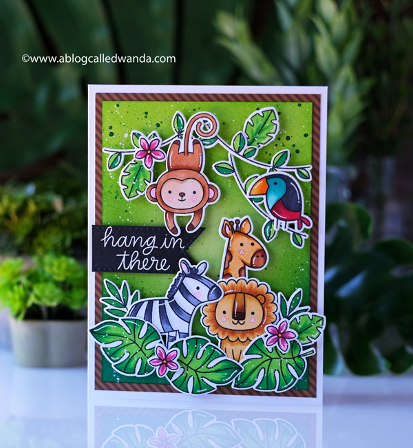 Pretty Pink Posh June 2020 new release blog hop. Jungle themed stamps and dies. Jungle Friends stamp set, Monkey Friends stamp set, Tropical Toucans stamp set, Animal Signs stamp set, Hibiscus Flowers stamp set, Copics, Distress ink blending backgrounds. Wanda Guess