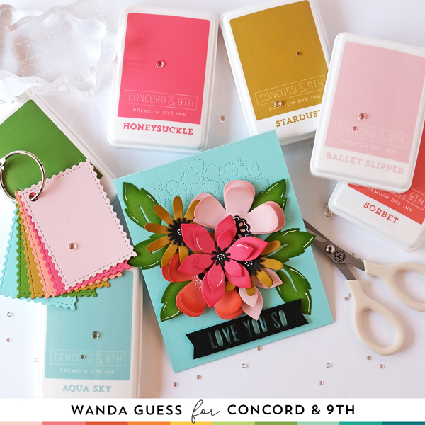 Concord & 9th Color Collection. Concord & 9th ink pads and matching cardstock. Concord & 9th Fresh Cut Florals dies, handmade paper flowers, card ideas, Stitched Blooms, Floral card. Wanda Guess